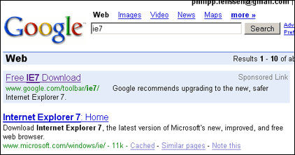 IE7 for Google ad