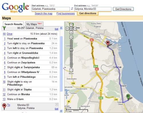Google Maps - wytyczanie trasy