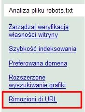 Rimozioni di URL?