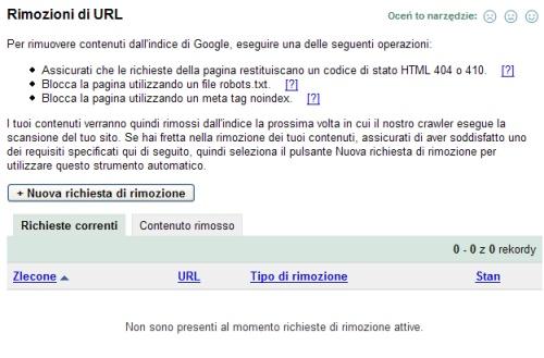 Rimozioni di URL? content
