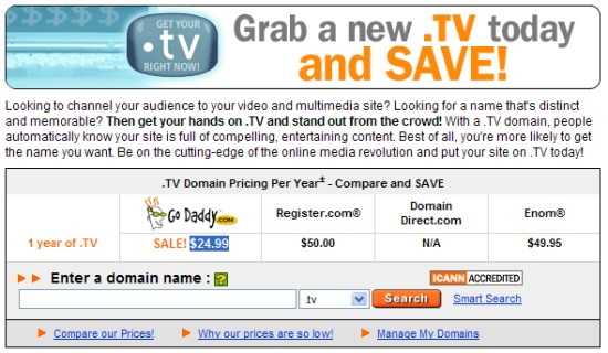 GoDaddy - Promocja na domeny .TV