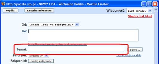 Pole TEMAT - poczta.wp.pl
