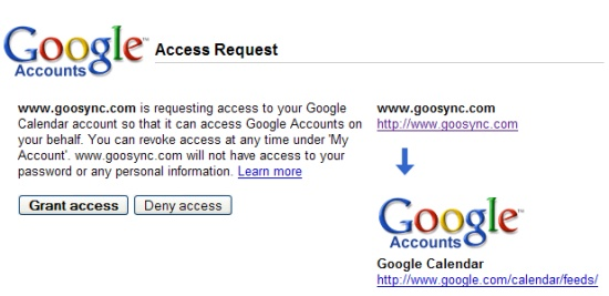 My Google Authorisation GooSync
