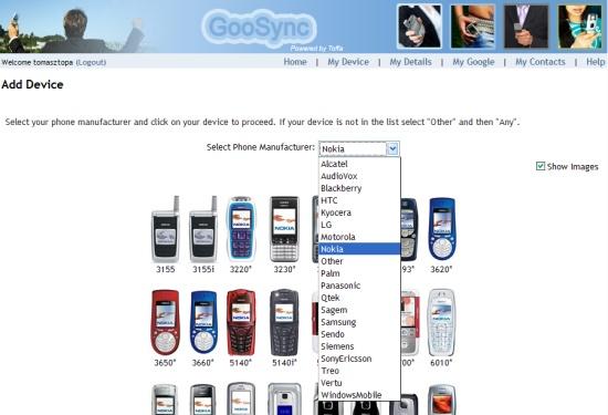 GooSync - wybór telefonu