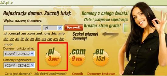 Az.pl - domeny .pl 3,99z?