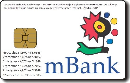 mBank - karty chipowe, wy?sze oprocentowanie, darmowe przelewy?