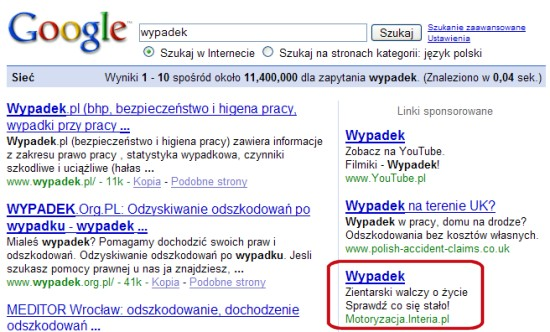 Wypadek w Google AdWords