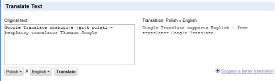 Google Translate po polsku