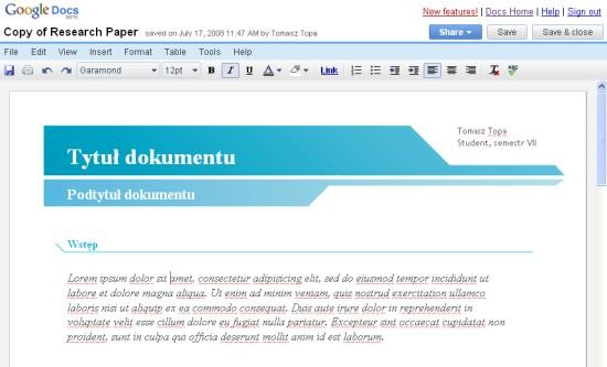 Google Docs Sample