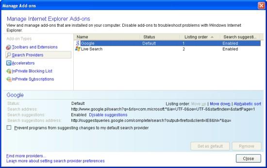 IE8 Beta 2 - wyszukiwarki