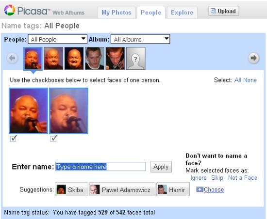 Picasa Web Albums - tagowanie ludzi
