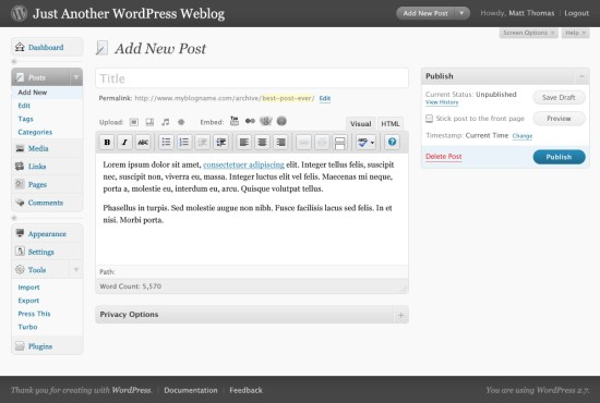 Wordpress 2.7 - tworzenie nowego posta