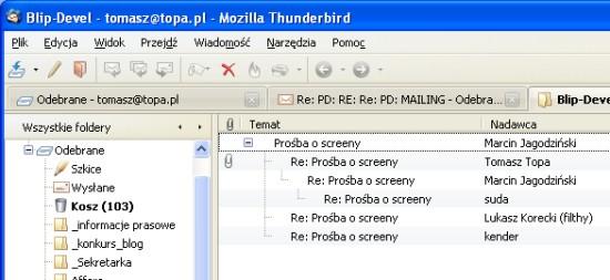 Thunderbird 3 Beta 1 - przeglądanie w zakładkach
