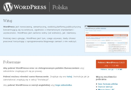 WordPress is also available in Polski.