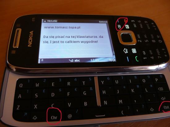 Nokia E75 klawiatura