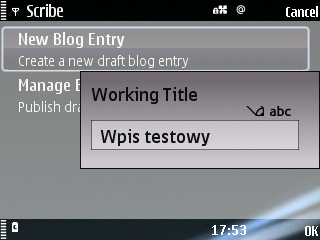WordPress client Scribe for Symbian S60 - tworzenie post�w