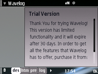 WordPress s60 Wavelog Trial