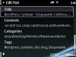WordPress Symbian s60 - WordMobi - edycja