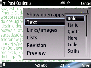 WordPress Symbian S60 - Wordmobi - edycja post�w