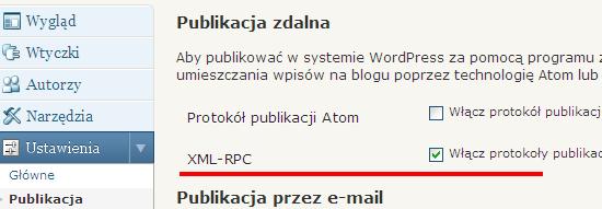 Aktywacja XML-RPC