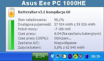 BatteryBar bateria Asus Eee PC 1000HE