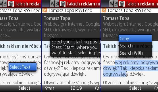 Opera Mini 5 - copy&paste