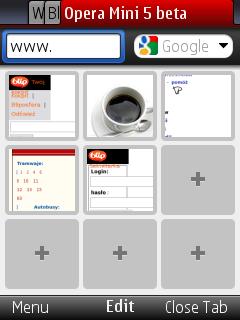 Opera Mini 5 beta - nowa strona startowa
