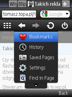 Opera Mini 5 beta - nowe menu