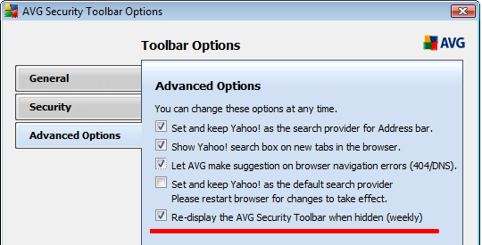 AVG Security Toolbar Options
