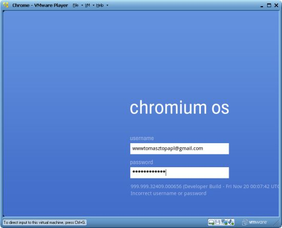 Google Chrome OS login screen