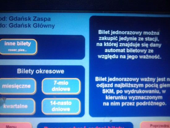Automat biletowy SKM