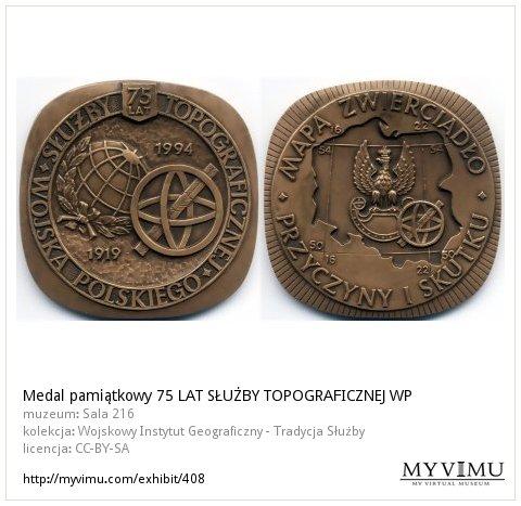 Medal pamiątkowy 75 LAT SŁUÅ»BY TOPOGRAFICZNEJ WP