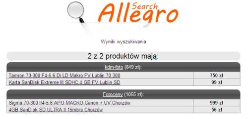 SearchAllegro.pl wyniki wyszukiwania