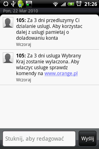 SMS Orange Wybrany Kraj