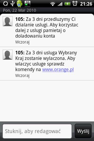 SMS Orange Wybrany Kraj