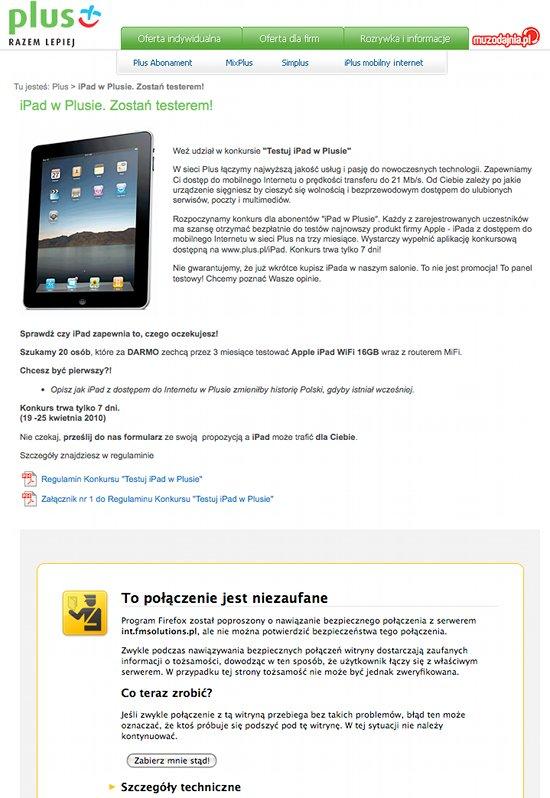 Plus iPad b??d certyfikatu