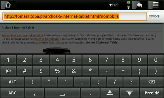 Archos 5 Internet Tablet klawiatura