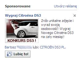 Facebook - imię przy reklamie