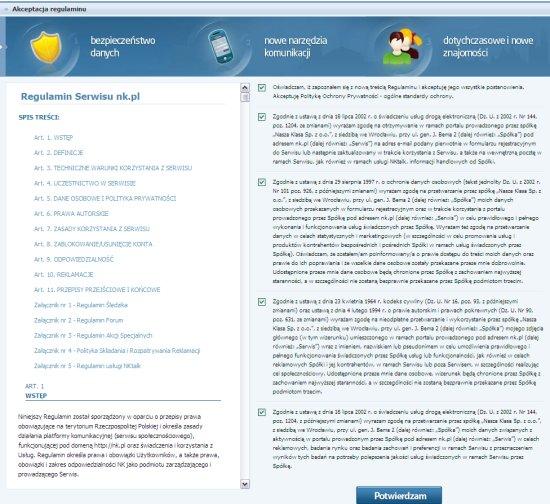 NK.pl nowy regulamin