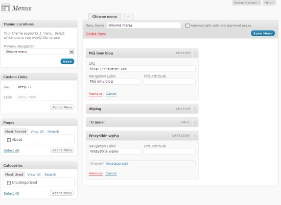 WordPress 3.0 Menu
