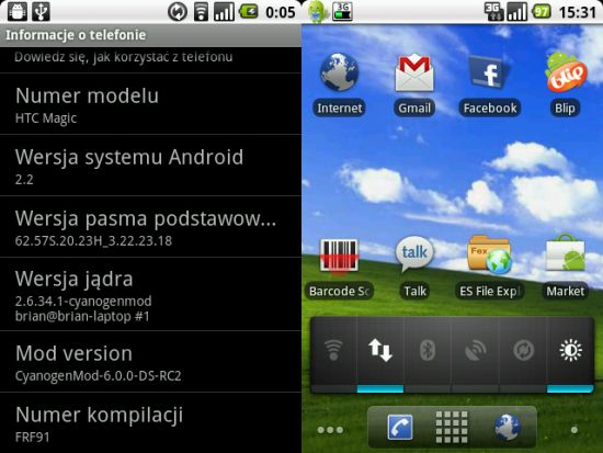 HTC Magic z Froyo Android 2.2 (Cyanogen Mod 6 RC2)