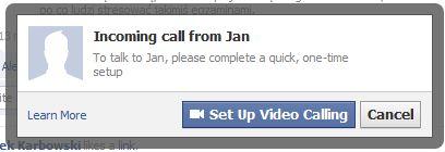Rozmowa przychodz?ca w Facebooku