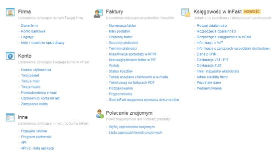inFakt.pl - dost?pne opcje
