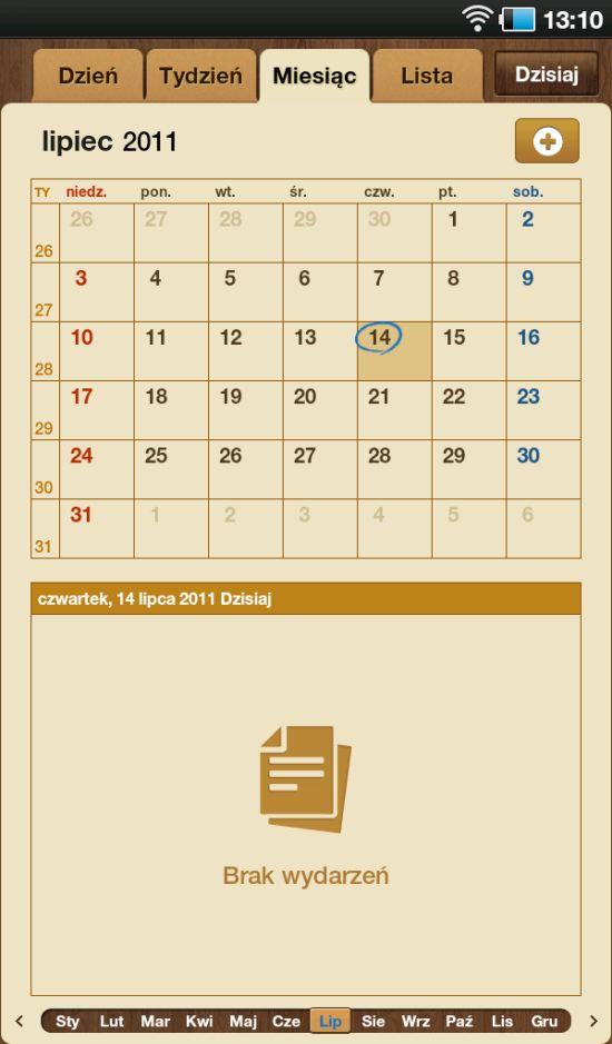 Aplikacja kalendarza