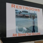 Restrooms sign :)