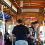Wnętrze tramwaju linowego