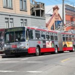 Przegubowy trolejbus w San Francisco